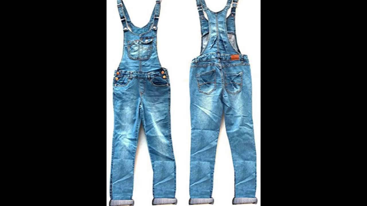e8da82b949 New Women Denim JEANS Overall Destroy Long Skinny Pants Jumper Ripped  Distressed L MEDIUM BLUE WASH