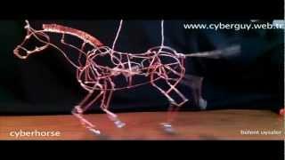 cyberhorse mechanical horse copper wire sculpture art