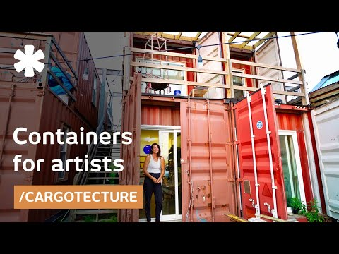 Cantilevered containers become popup housing for urban creators