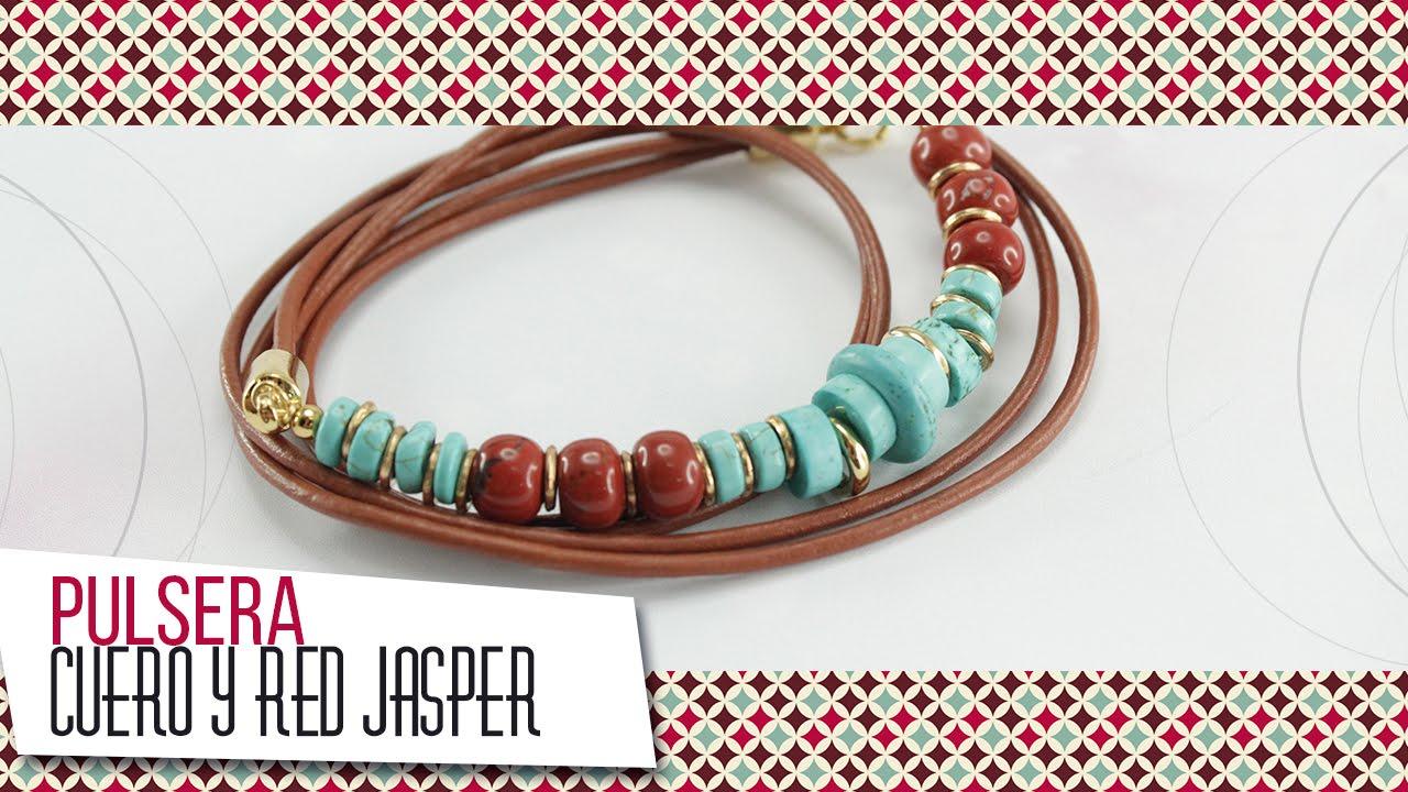 669e8b067546 Como hacer pulsera con cordón de cuero y turquesas