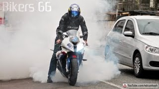BMW S1000RR Burnout, Yamaha R1 R6 SRAD & CBR Wheelie, HP4 ZX6R Z800 XJ6 Bandit Hornet - Bikers HD 66