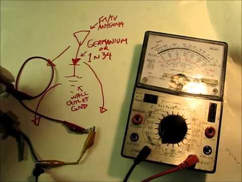 DIY Wireless Power - Part 1: TV/FM Antenna,1N34/Germanium Diode & Ground