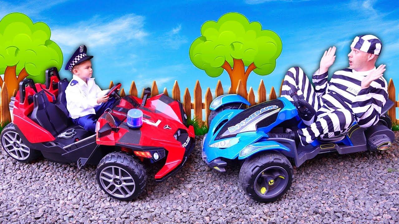 Dima pretend play like a Policeman found his power wheels car