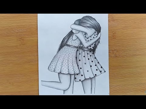 How to draw Two Friends Hugging with pencil sketch step by step/Bestfriends. thumbnail
