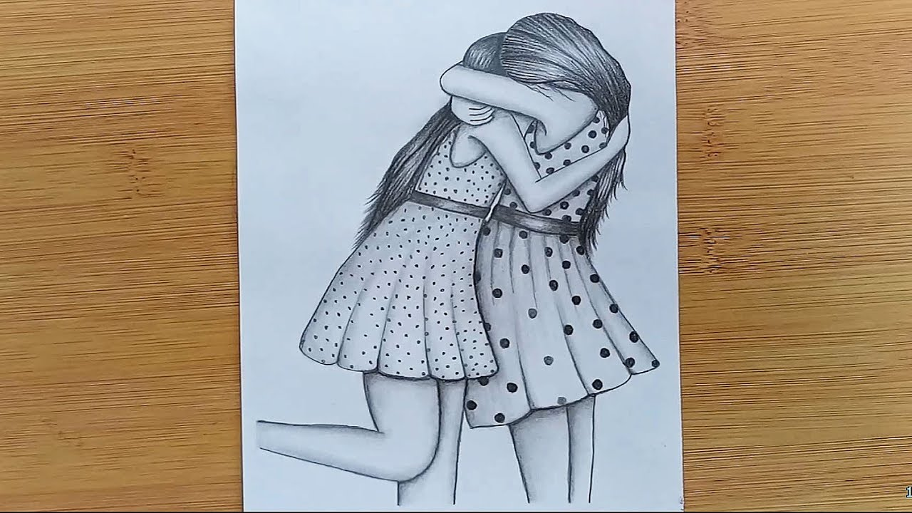 How To Draw Two Friends Hugging With Pencil Sketch Step By