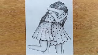 How to draw Two Friends Hugging with pencil sketch step by step/Bestfriends.