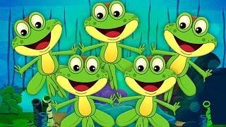 ห้ากบเล็ก ๆ น้อย ๆ | การ์ตูนสำหรับเด็ก | วิดีโอการศึกษา | Nursery Rhymes For Kids | 5 Little Frogs