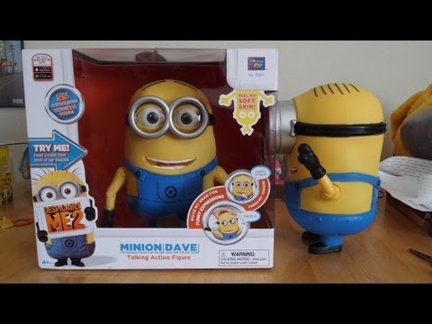 Minion Dave - Despicable Me 2 Talking Action Figure Toy Unboxing & Review
