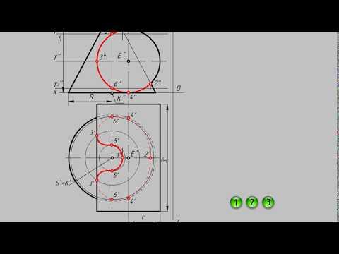 Построение линии пересечения конуса вращения с цилиндром вращения. Анимация.