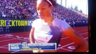 Allyson Felix wins the women's 400 meter dash