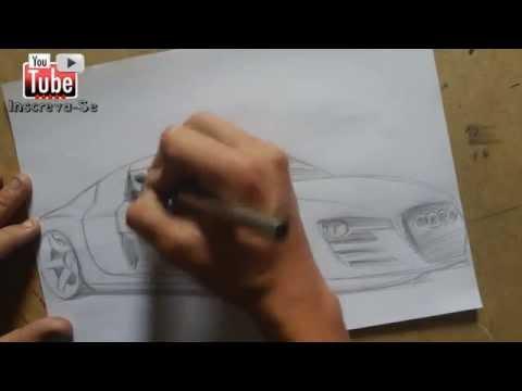 Como desenhar um carro ( Audi R8 ) How to draw cars