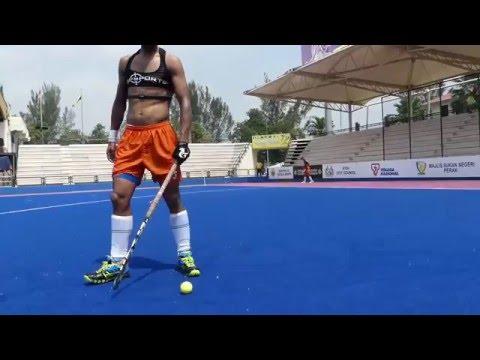 Rupinderpal Singh drag flick. Hockey India team member Rupinder practicing his drag flick.