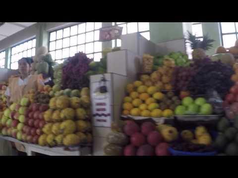 Walking through a food market Quito Ecuador