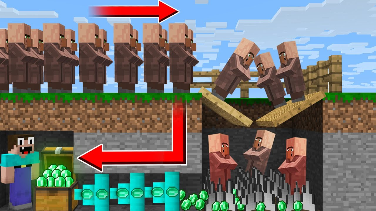 THIS IS THE BEST WAY to ROBBERY VILLAGERS! NOOB STEAL EMERALDS in Minecraft Noob vs Pro