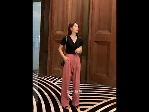 kirahosi 패션 여성 슬랙스 바지 코디 정장 와이드 팬츠 하이웨스트 데일리 433호+ 덧신 증정 COtwop2y