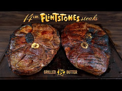 110 Oz GIANT STEAKS, Grilled vs Butter Poached, Flintstone Steak | GugaFoods