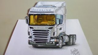 Scania Highline R470 - Speed Drawing in 3D (Realismo Anamórfico)