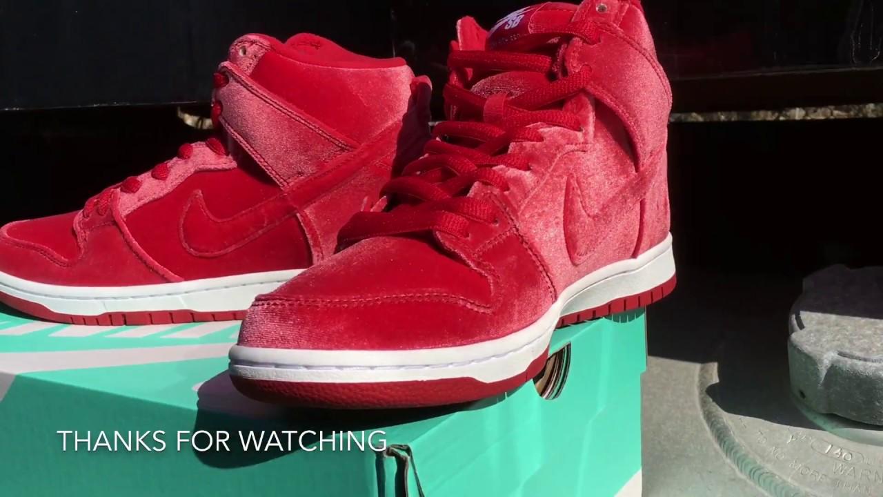 Nike Dunk Sb Red Velvet A Detailed Look - YouTube