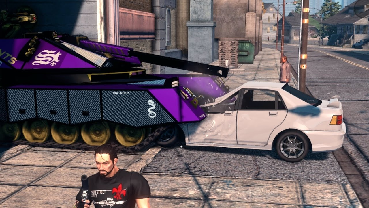 Cars With A Third Row >> Saints Row The Third - Tank Smashing Cars! - YouTube