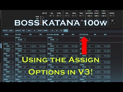 Boss Katana V3 Assign Options In Tone Studio: Expression Pedal Set-up