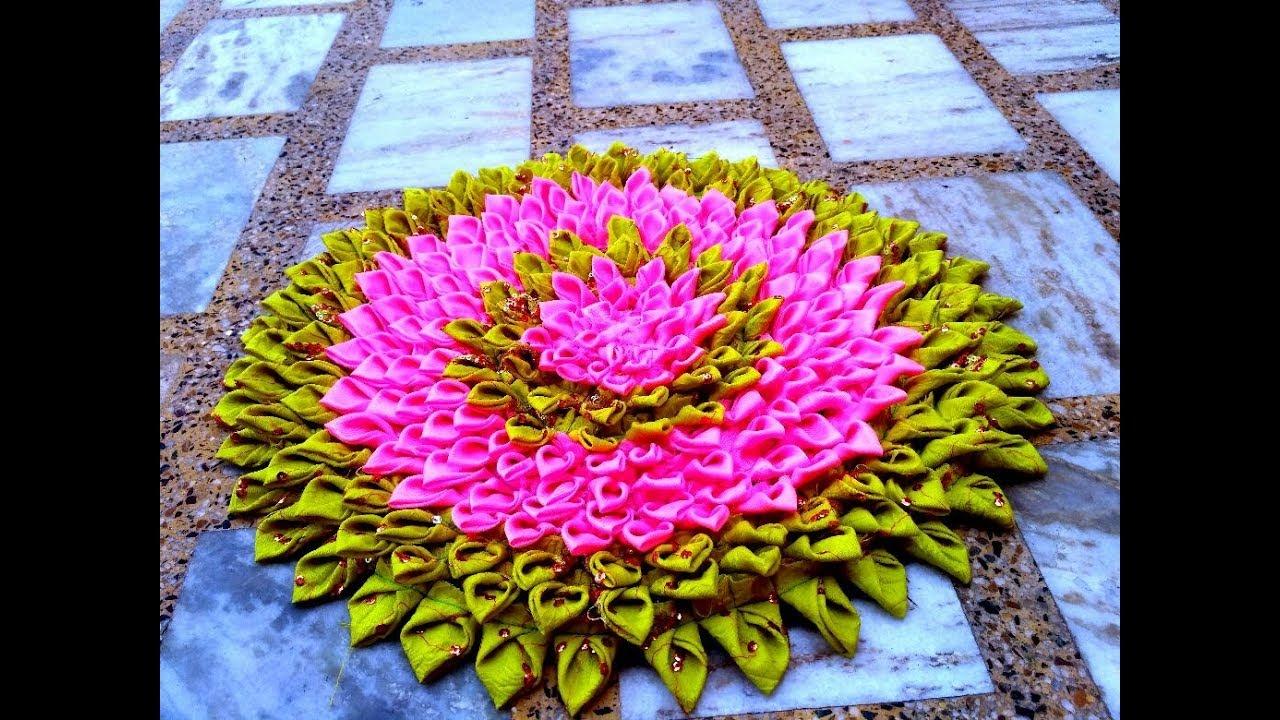 Lotus Doormat Making Using Waste Cloth Youtube