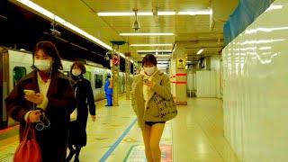 【4K】JR渋谷駅ホーム内 改良工事状況2020.12 18:45