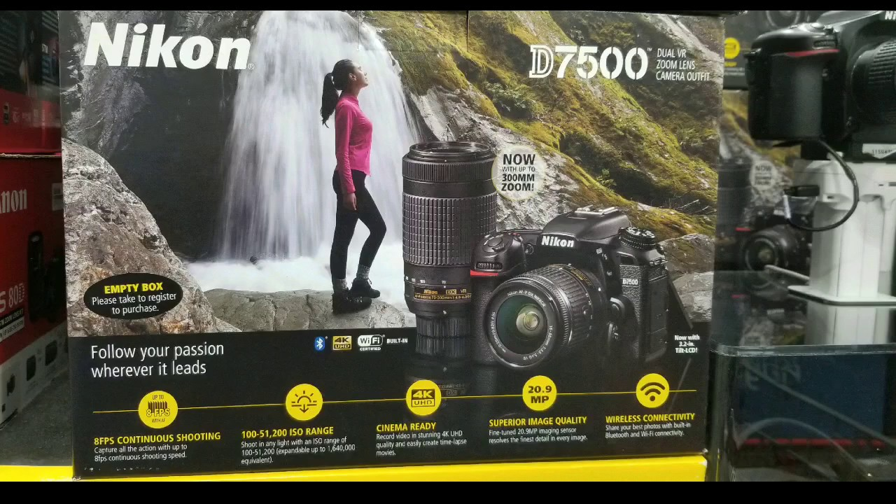 Costco! Nikon D7500 DSLR w/ 2 lens Camera Bundle, extra battery, 32 GB  card, & case! $1199!