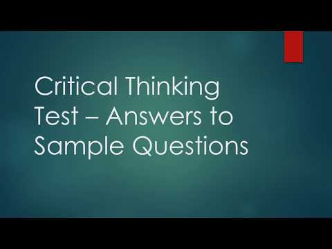 Critical Thinking Test - Answers to Sample Questions