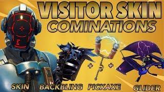 THE VISITOR SKIN BEST BACKBLING + SKIN COMBOS! (Blockbuster skin) (Fortnite Battle Royale) (2018)