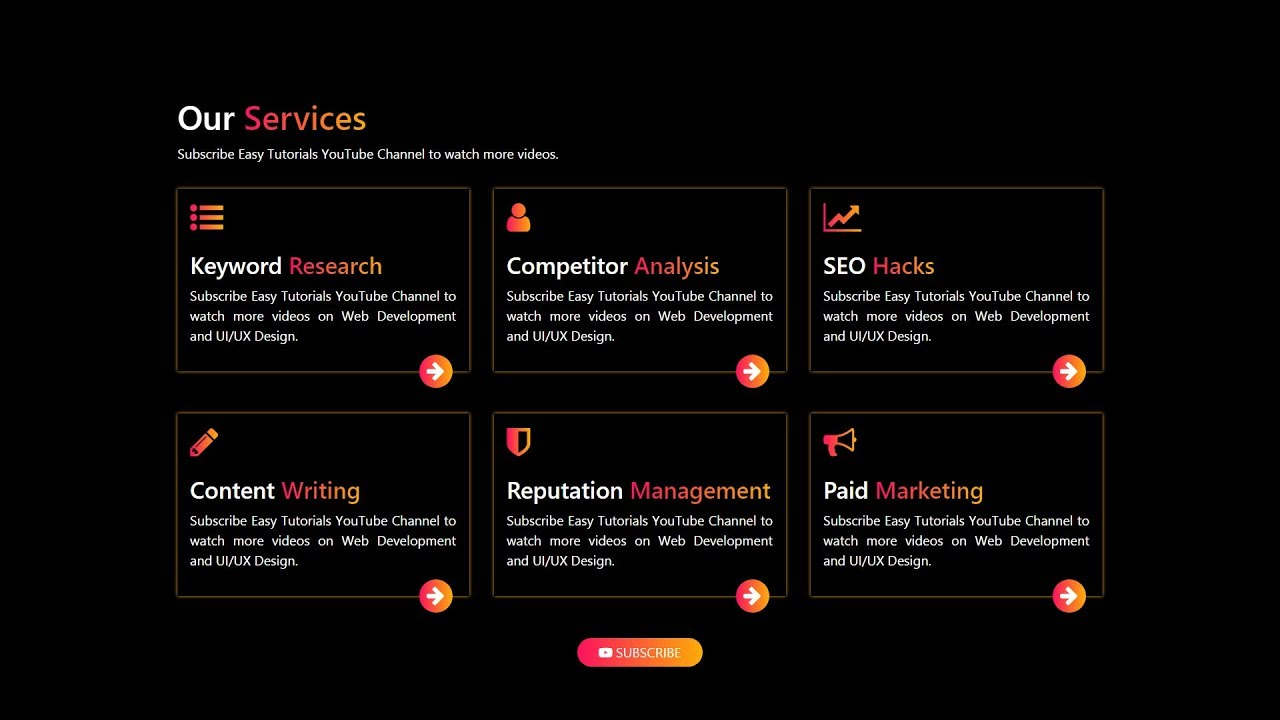 How To Make Website Services Section Using Html Css