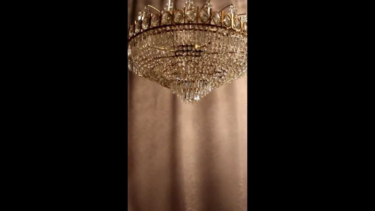 antik kristall kronleuchter deckenl ster lampe jugendstil messing luxus empire youtube. Black Bedroom Furniture Sets. Home Design Ideas