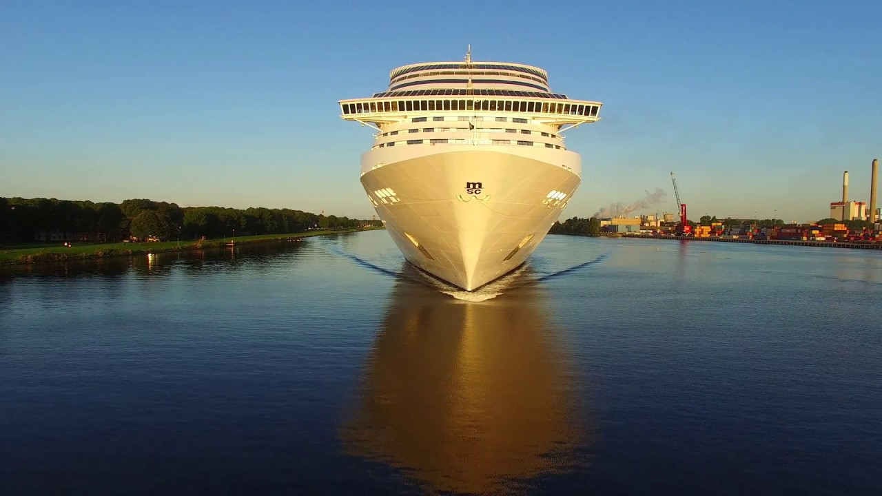 MSC Splendida Cruise Ship drone view at sunrise - YouTube