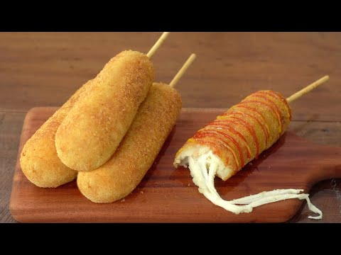 [SUB] How to Make Cheese Potato Hot Dog :: Without Flour :: Korean Hot Dog :: Kids Snack - 매일맛나 delicious day