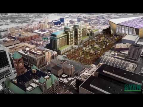 Downtown East mixed-use development and three-block urban park/plaza