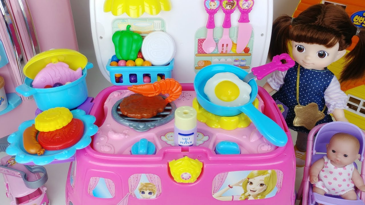 Baby Doll Food Car Kitchen Toys And Play Doh Food Cooking