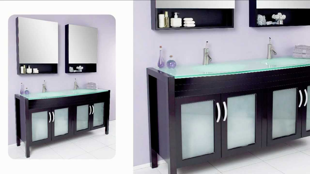 Fresca Infinito Modern Bathroom Vanity W/ Tempered Glass Double Sink & Countertop