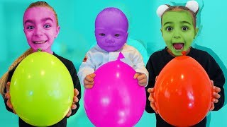 Las Ratitas inflan globos gigantes con colores en ingles!!