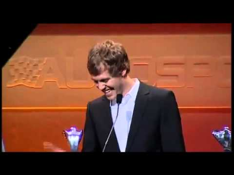 Vettel impersonates Raikkonen in hilarious speech at the Autosport awards