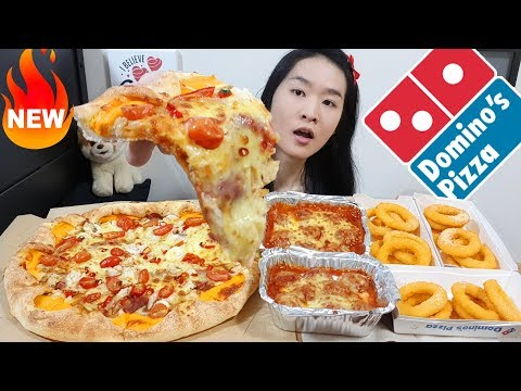 Domino's Chilli Padi Crab Pizza w Cheddar Cheese Crust, Meatballs, Onion Rings | Eating Show Mukbang
