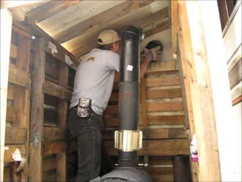 Installing The Barrel Stove Pipes - Installing The Barrel Stove Pipes - YouTube