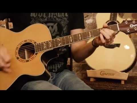 Crafter Guitars Jumbo Acoustic Electric JE18 demonstration by Damon Johnson