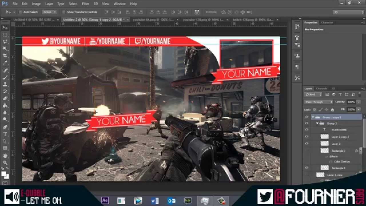 Free epic gaming video overlay template, 2in1 (PSD) speed art ...