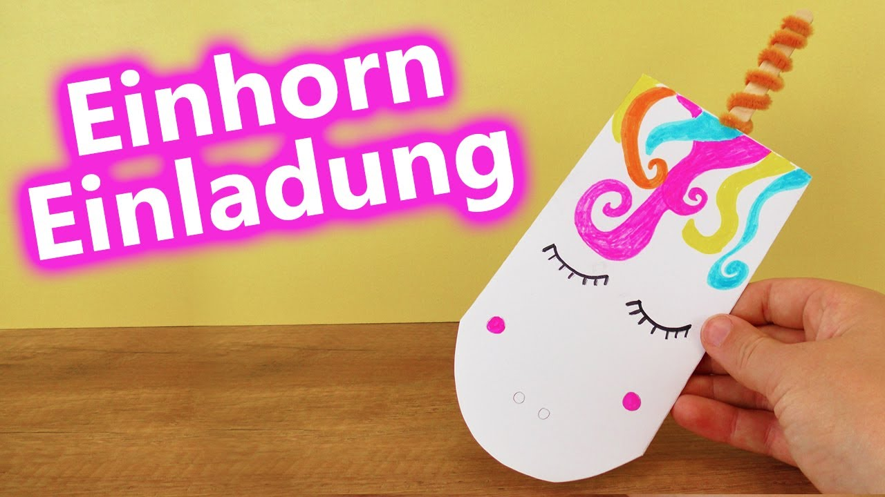 diy einhorn einladungs s e unicorn karte selber machen zum verschenken youtube. Black Bedroom Furniture Sets. Home Design Ideas