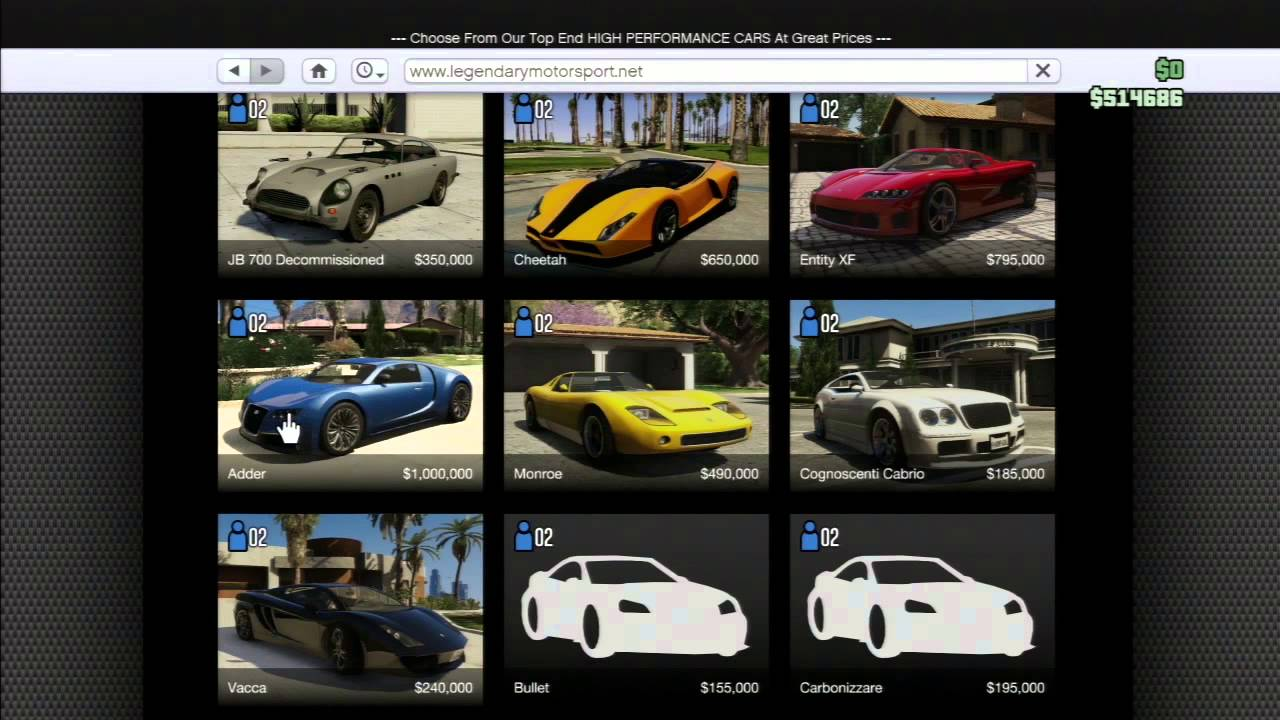 gta online comment avoir toutes les voitures gratuitement. Black Bedroom Furniture Sets. Home Design Ideas