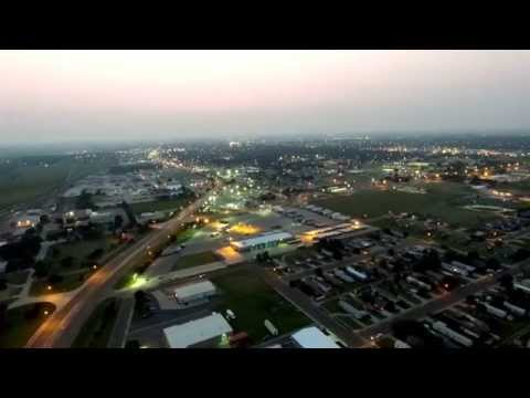 Garden City, KS, east side aerial view night time.