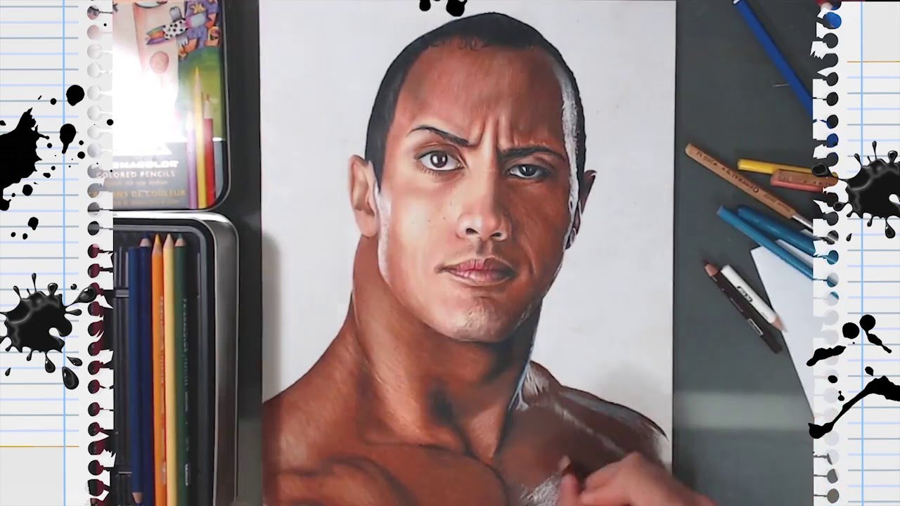 Drawing Dwayne Johnson Dibujo De La Roca Speed Drawing Youtube