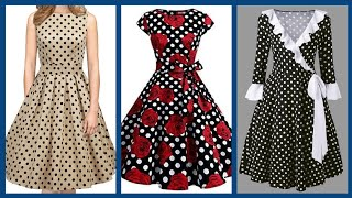 designer skater dresses design collection 2020 polka dot frocks fashion for college and office girls