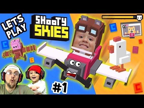 Lets Play SHOOTY SKIES! Crossy Road w/ Guns, Planes & Boss Battles?  AWESOME!!  (FGTEEV #1 Gameplay)