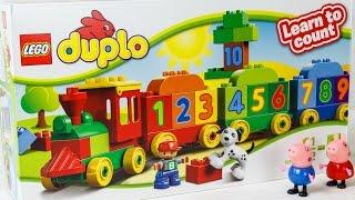 Свинка Пеппа играет в Лего Дупло паровозик с цифрами. Учимся считать цифры от 1 до 10
