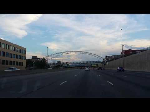 Driving into Denver Colorado with The Broncos Stadium (Denver, CO)